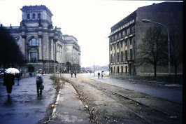 The wall once pushed right up to the Reichstag but has been demolished here 1991