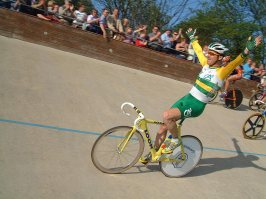 Tour de France star Stuart O'Grady enjoys the heady atmosphere of the Centenary Good Friday Track meeting at Herne Hill in 2003